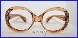 Vintage AG Hertha, Jackie O Style Eyeglass Sunglass Frames Tan with stones NOS