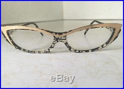 e4e99eee9218b Vintage Alain Mikli Cat Eye Gold and Black Frame Eyeglasses Hand Made in  France