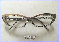 Vintage Alain Mikli Cat Eye Gold and Black Frame Eyeglasses Hand Made in France