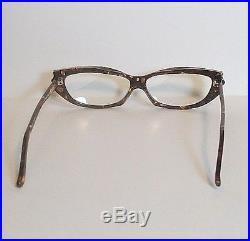 Vintage Alain Mikli Cat Eye Gold and Brown Frame Eyeglasses Hand Made in France