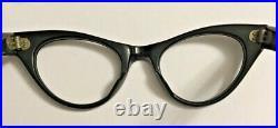 Vintage Black cateye woman's frame France 42x18 tem 5.25 rhinestones eyeglasses