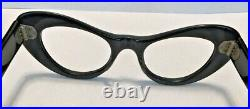 Vintage Black cateye woman's frame France 44x22 temple 5.5 rhinestones Gina