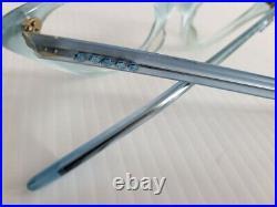 Vintage Blue Selecta Cats Eye Rhinestone Edged Eyeglass Frames $145 VALUE