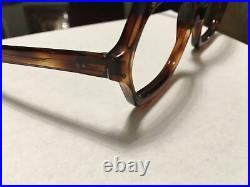 Vintage Brown Large Hexagon woman's frame 54x22 temple 5.5 with rhinestones