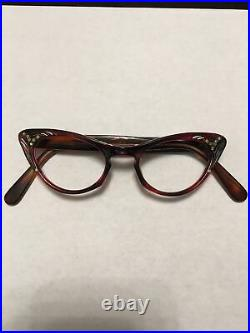 Vintage Brown cateye woman's frame France 44x22 temple 5.5 with rhinestones
