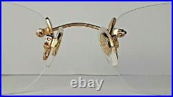 Vintage Bugatti eyeglasses mod. 15508 Rimless Rare Gold N. O. S. Made in France