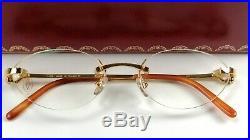 Vintage CARTIER 3345509 eyeglass frames 50-19-130. 18k gold plated Rx/ Sun