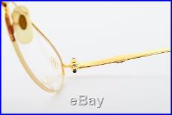 Vintage CARTIER CABOCHON Eyeglasses Semi-Rimless 22ct GP Blue Spinel 54-20 NOS