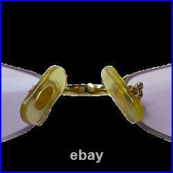 Vintage CARTIER C Decor 18K Gold Plated Rimless Eyeglasses Sunglasses Frame