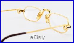 Vintage CARTIER Eye Frame DEMI LUNE LAQUE 22ct GP Gold Plated 50-24 Faberge Case