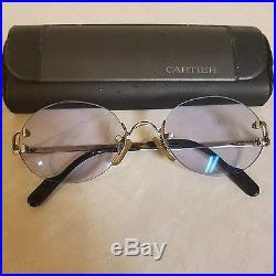 Vintage CARTIER Eyeglasses Frames Platinum with case Serial No. 2265760 EUC