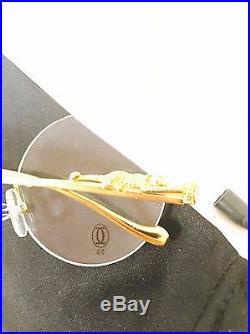 Vintage CARTIER Gold Round Eyeglass Frames With Jaguar Detailing