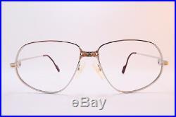 Vintage CARTIER PARIS 1988 24K white gold filled eyeglasses frames Size 56-14 13