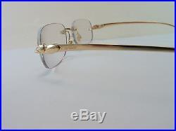 3b905993bd Vintage CARTIER Panther Rimless Gold Eyeglasses Men s Medium Made in France  Exc