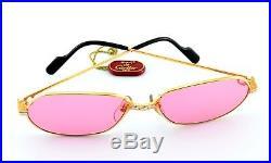 Vintage CARTIER Sunglasses Panthere P. M SERIE LIMITEE 22ct GP Gold 56-17 M Rose