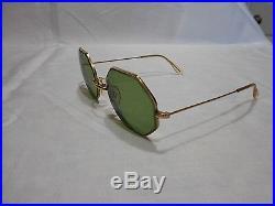 Vintage COTTET FRANCE 14K GP Octagonal Sunglasses Eyeglasses frames Exclnt Cond