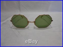 Vintage COTTET FRANCE 14K Gold Plated Octagonal Sunglasses Green Glass Lenses