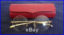 b5efec5caabb2 Vintage Cartier 138 Panther 81339 593 Gold Metal Frame Eyeglasses France