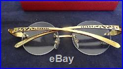Frame Cartier Gold 593 Panther Metal 138 81339 Vintage Eyeglasses DE29HI
