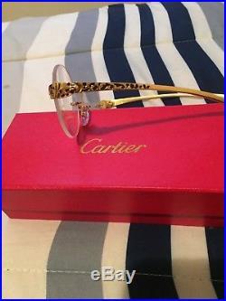 Vintage Cartier 138 Panther 81339 593 Gold Metal Frame Eyeglasses France