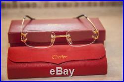 Vintage Cartier C Decor Optical Frames Rimless Eyeglasses