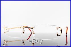 65153a40706 Vintage Cartier C Decor Optical Frames Rimless Eyeglasses