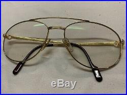 Vintage Cartier Driver Aviator Eyeglasses Gold Plated 60mm France RARE