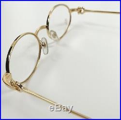 Vintage Cartier Eyeglass Frames Oval Brushed Pale Gold Authentic 50-20-135