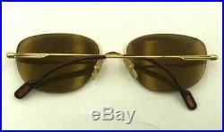 Vintage Cartier Gold Metal Oval Half-Rimmed Sunglasses Eyeglasses Frames France