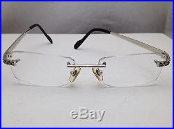 Vintage Cartier Panthere White Gold Sapphires Crystals Rimless Eyeglass Frame