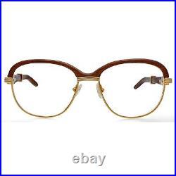 Vintage Cartier Paris ©1990 Malmaison 24k Gold Filled Eyeglasses Wood Frame