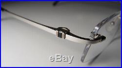 Vintage Cartier Rimless Silver Tone Sunglasses Eyeglasses Frames Black Gemstones