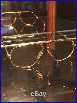 Vintage Cartier Tank 24K Gold Eyeglasses/Sunglasses 62-14