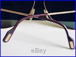 Vintage Cartier Vendome Laque Bordeaux Large Aviator Gold Plated Mens Eyeglasses