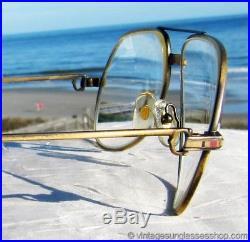 Vintage Cartier Vendome Santos Aviator Sunglasses James Bond 18K Gold Plate