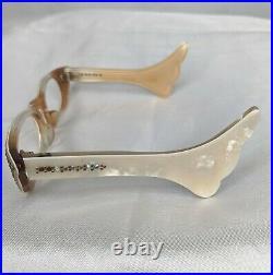 Vintage Cat Eye Eyeglass Half Frames Swank Cream France 1950s Eyeglasses Winged