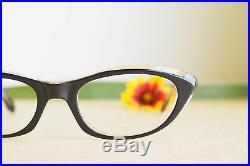 Vintage Cat Eye Frame 1960s Eyeglasses Black And Clear tone by TWE France