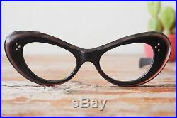 Vintage Cat Eye Frame 1960s Eyeglasses Made in France Multi colored Large Size