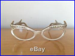 Vintage Cat Eye Womens Glasses Frames France Faux Mother Of Pearl FREE SHIP