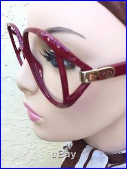 Vintage Christian Dior Butterfly Designer Eyeglass Frames 2320 In Burgundy