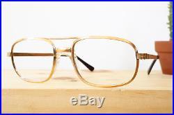 Vintage Eyeglass 1970s Aviator Glasses 14K 20/000 Gold NOS made In France
