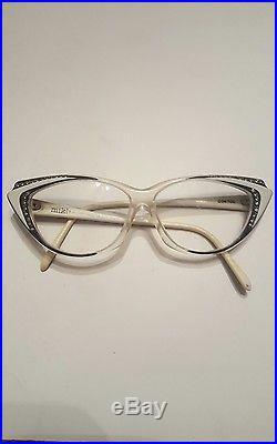 Vintage France 1950 ALAIN MIKLI Black and White CAT EYE Rhinestone Stud Glasses