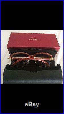 Vintage Gold Cartier Wood Sunglasses Eyeglasses Frames