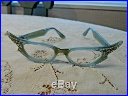 Vintage Light Blue Sparkly Cat Eye Eyeglasses Frame Made in France