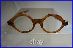 Vintage NOS 60s A. S. Orange Tortoise Round Eyeglass Panto Frames France 42/20