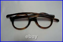 Vintage NOS 60s E. I LESLIE Tortoise Round Eyeglass Panto Frames France 42/20