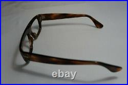 Vintage NOS 60s FRAME FRANCE Tortoise Horn Rim Straight Brow Frames 49-18-140