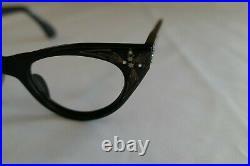Vintage NOS 60s Frame France 44/20 Black with Stars Cat Eye