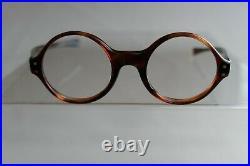 Vintage NOS 60s Tortoise Round Eyeglass Panto Frames France 42/20