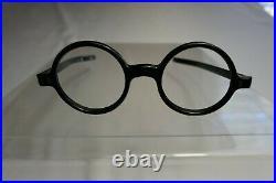 Vintage NOS 60s Zyloware Black Round Eyeglass Panto Frames France 40/21